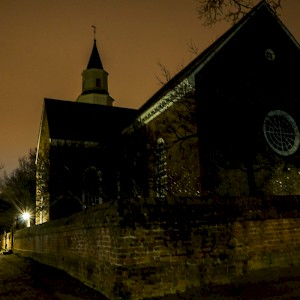 Spooky sky at night in Williamsburg, Virginia on a ghost tour