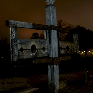 Spooky gallows seen from a Williamsburg Ghost Tour